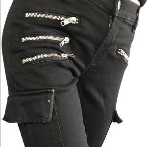 JBRAND Black Skinny Cargo Ankle ZIP 25 Retail $187